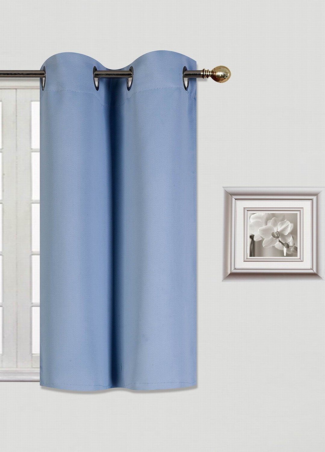 (K30) SLATE BLUE 1 Panel Silver Grommets KITCHEN TIER Window Curtain 3  Layered Thermal