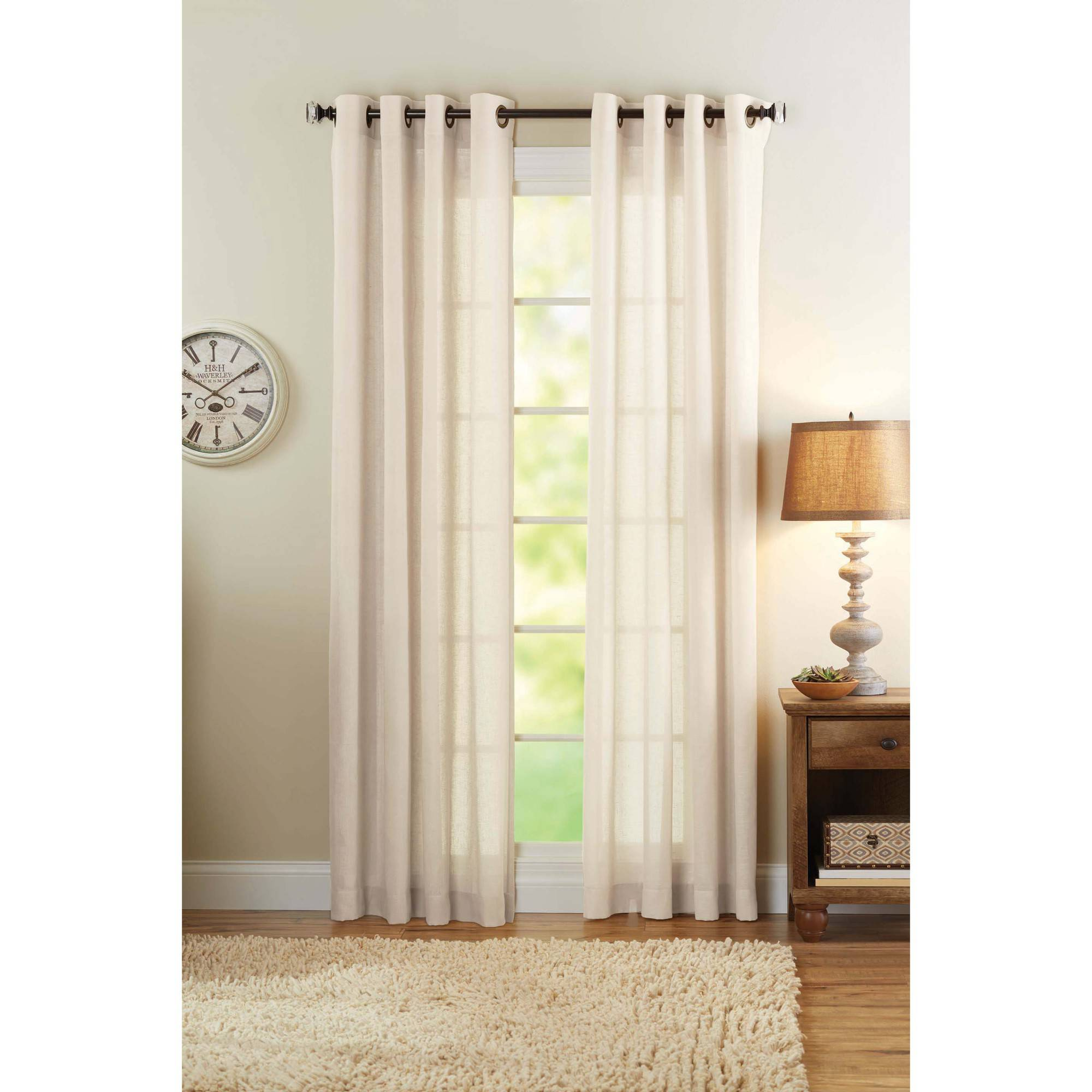 Better Homes and Gardens Semi-Sheer Grommet Curtain Panel, Bleached Linen