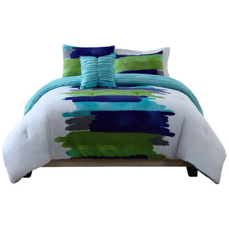 Style 212 Watercolor Blue Comforter Set In Green