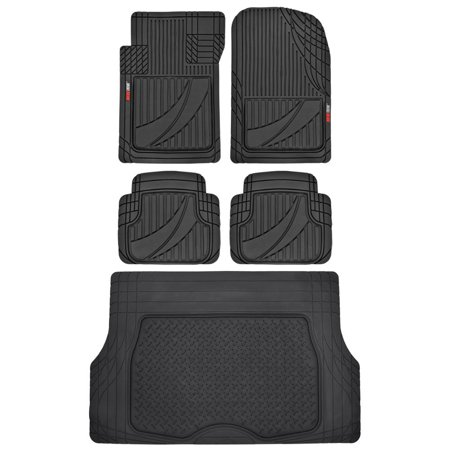 Cargo Liner Floor Mats (Motor Trend FlexTough Advanced Performance Liners - 5pc HD Rubber Floor Mats & Cargo Liner for Car SUV Auto)