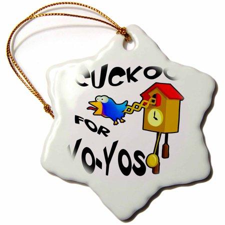 3dRose Funny Cuckoo For Yo-yos Bird Design, Snowflake Ornament, Porcelain, 3-inch ()