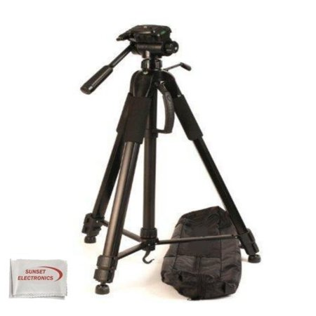 Professional 72-inch Tripod 3-way Panhead Tilt Motion with Built In Bubble Level for Sony Handycam & HD Flash Memory