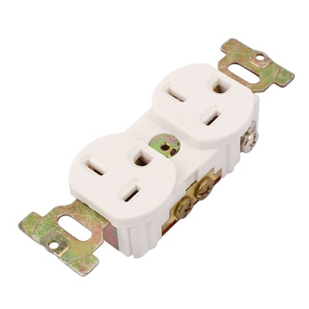 Ac 125V 20A Us Socket White 3 Pin Panle Mounting Power 2 Us Standard Ports