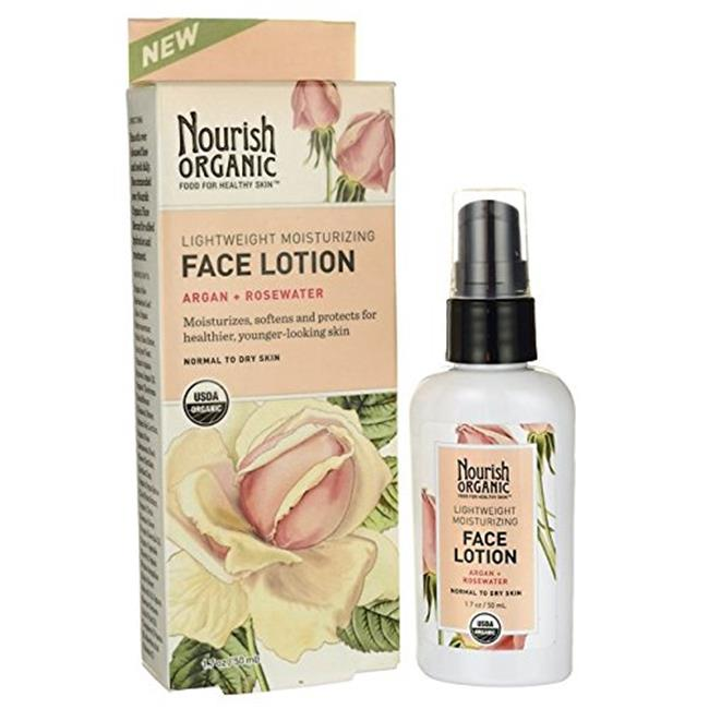 Nourish 1383694 Organic Face Lotion, Argan & Rosewater - 1.7 oz