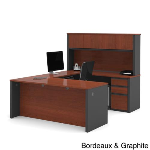 Bestar Prestige+ Commercial Grade U-shape Hutch And Desk Bordeaux & Graphite Finish