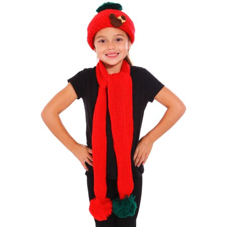 Simplicity Kids Hat Knitted Crochet 2 Pieces Beanie Cap Scarf Set