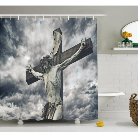 Religious Shower Curtain Cross With Holy Character Statue Stormy Dramatic Clouds Scene Fabric