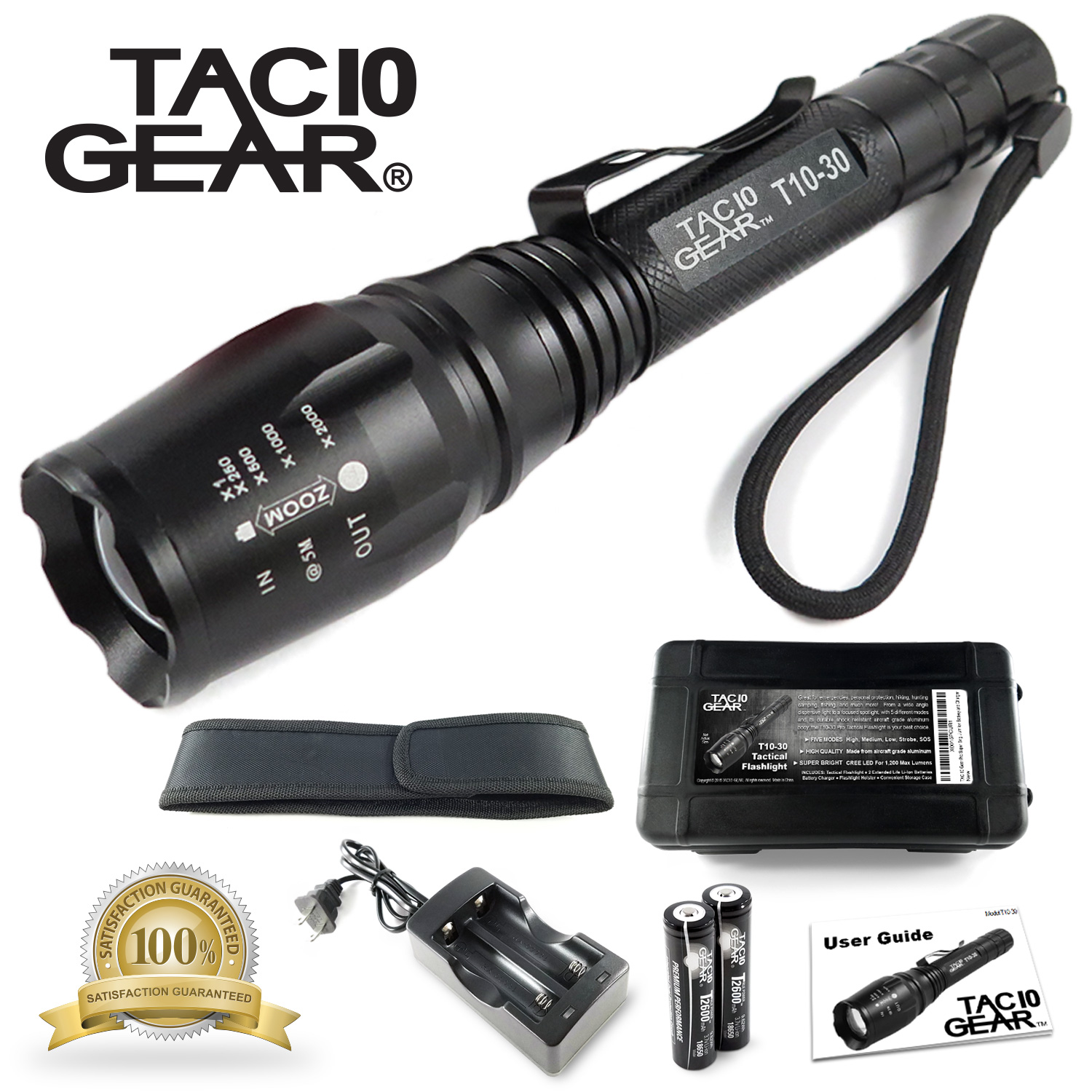 TAC10 GEAR Tactical LED Flashlight XML-T6 1,000 Lumens Water Resistant with Rechargeable Li-Ion Batteries, Charger, Adjustable Zoom Focus, 5 User Modes, and Holster