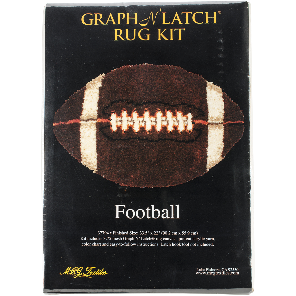 Latch Hook Kit 33.5 Inch X 22 Inch Shaped-Football