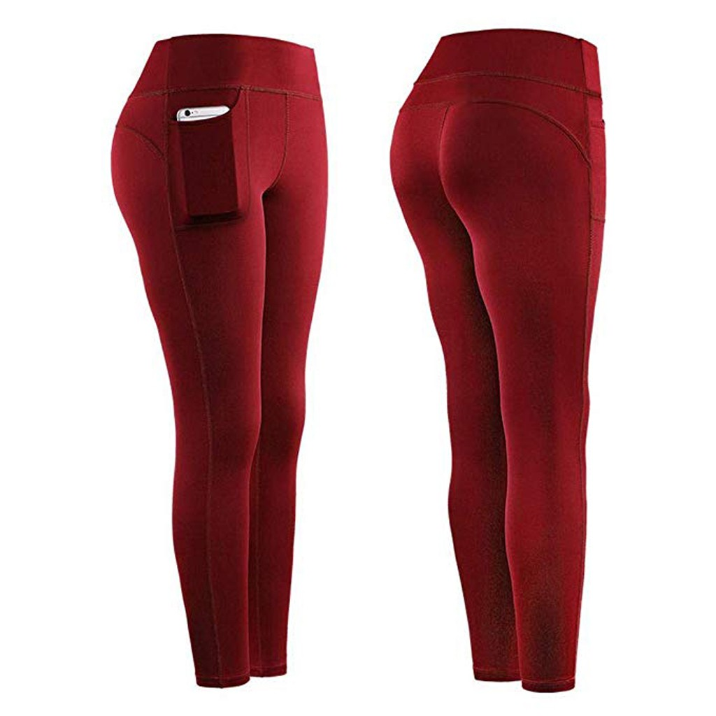 Women Stretch Yoga Leggings Fitness Running Gym Pockets Active 3//4 Pants
