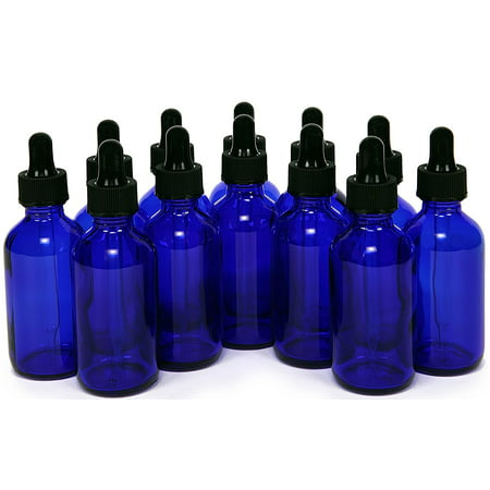Vivalpex, 12, Cobalt Blue 2 oz Glass Bottles with Glass Eye Droppers These high quality Cobalt Blue glass bottles with glass eye droppers, are perfect for storing your essential oils, perfumes or colognes. The convenient size makes it perfect for travel. The Eye Droppers allow for the perfect amount of product to be used every time.