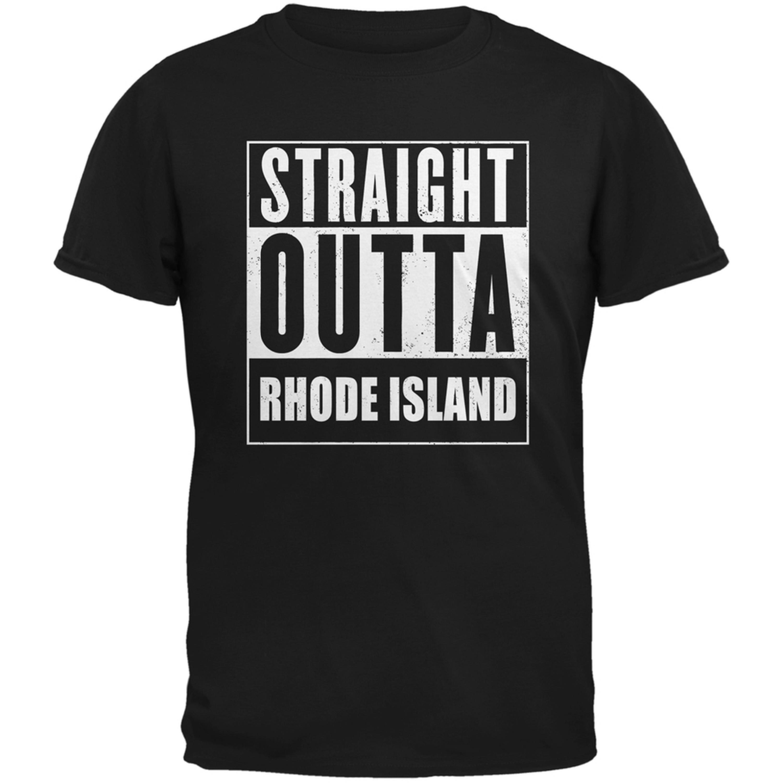 Straight Outta Rhode Island Black Adult T-Shirt