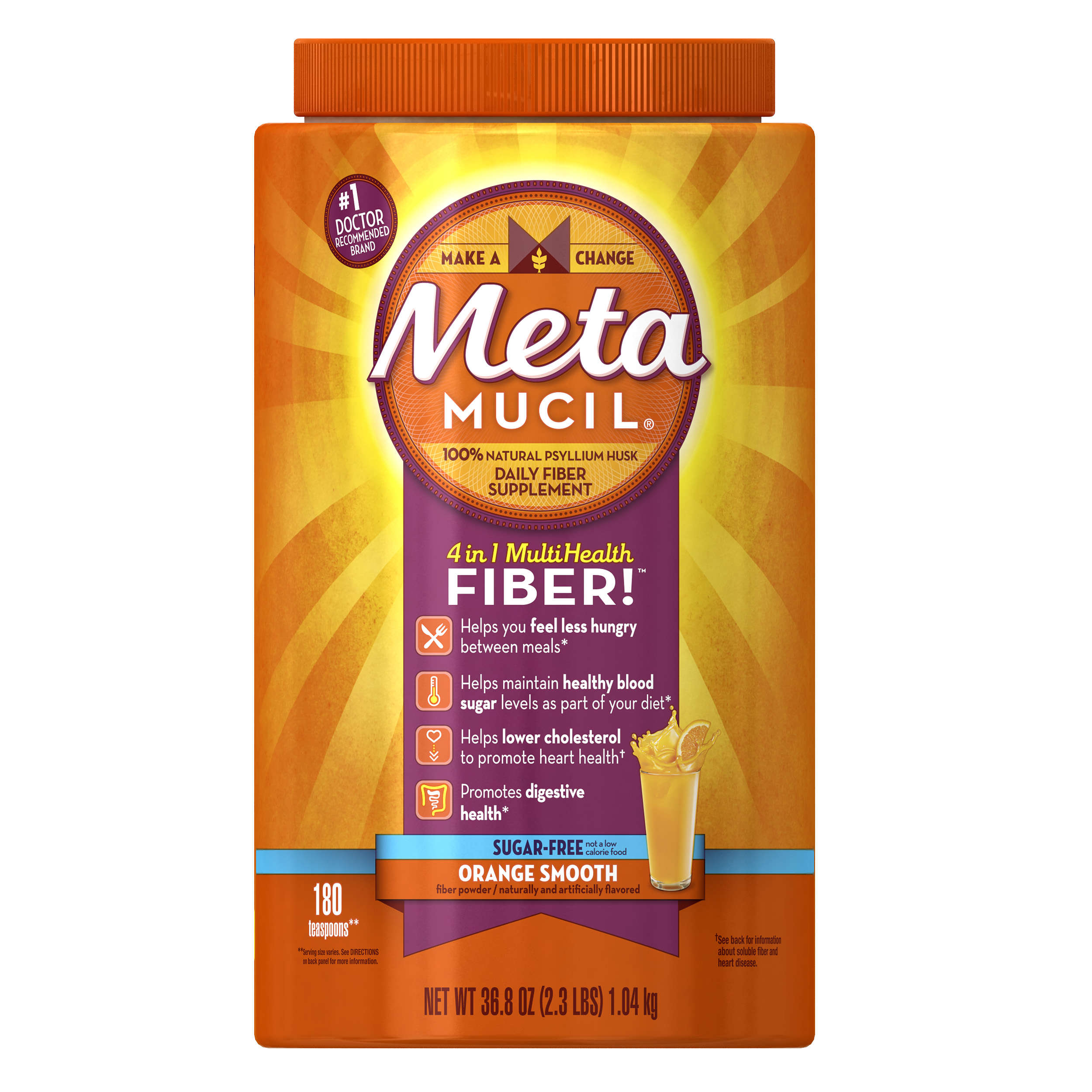 Metamucil Psyllium Fiber Supplement by Meta, Orange Smooth Sugar Free Powder, 36.8 oz, 180 doses