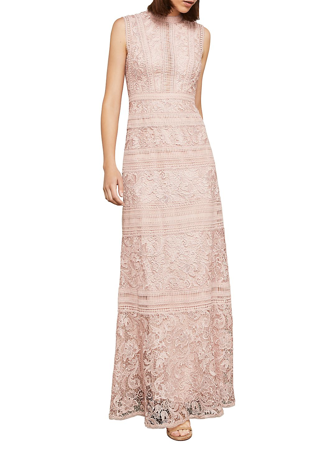 Sleeveless Scrolling Lace Gown