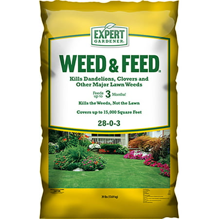 Expert Gardener 15,000 Square Feet Weed and Feed Lawn Fertilizer, 28-0-3