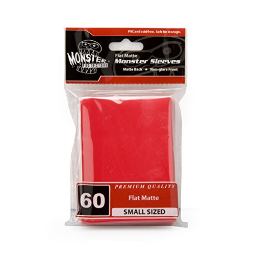 Sleeves - Monster Protector Sleeves - Smaller Size Flat Matte - RED (Fits Yugioh and Other Smaller