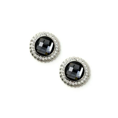 Rhodium Crystal Stones Around a Large Circle Black Diamond Stone Earrings
