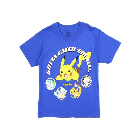 Pokemon Big Boys' Pikachu Catch 'Em All Tee, Royal