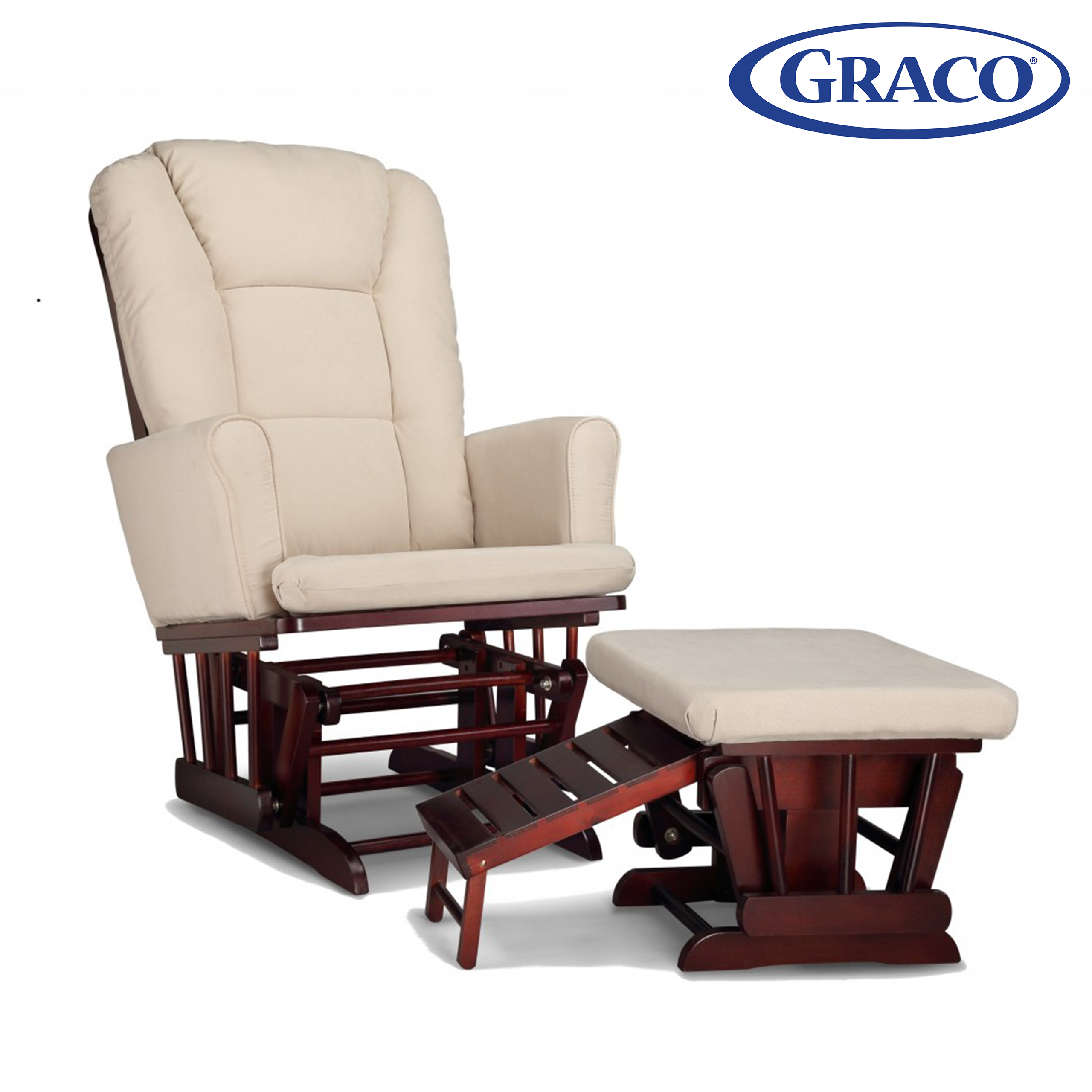 Graco Sterling Semi-Upholstered Glider and Nursing Ottoman Cherry with Beige Cushions
