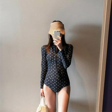 Sexy Slim Fashion Print Sheath Swimwear 2019 Women Long Sleeve Zipper One-Piece Swimsuit Elastic Triangle Black Beach Wear