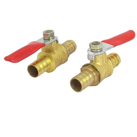 Dual Gas Valve (10mm Inner Dia Dual Hose Tail Red Lever Handle Brass Gas Ball Valve)