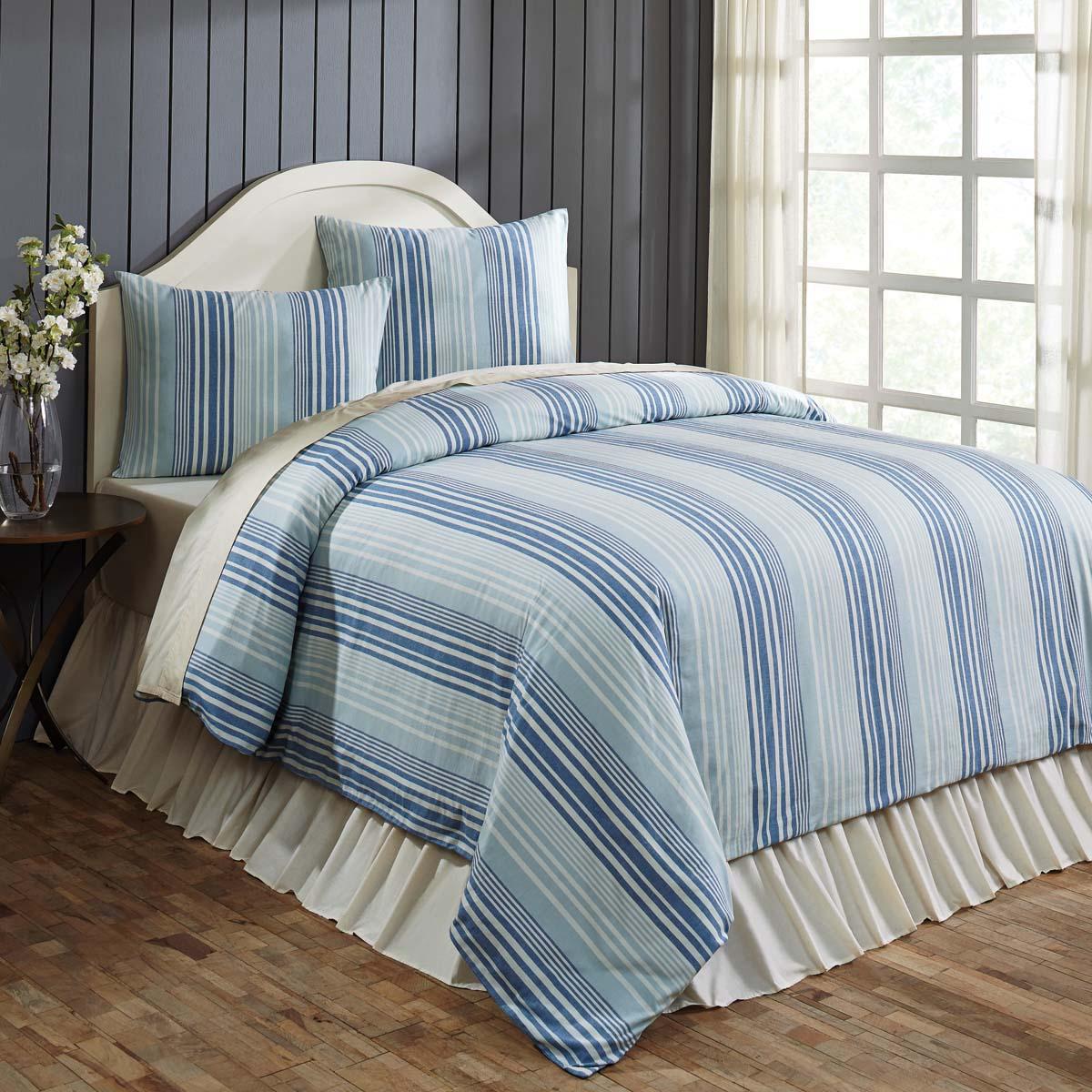 Blue Farmhouse Bedding Coastal Two Tone Stripe Cotton Tie Back S Striped Queen Duvet Cover Walmart Com Walmart Com