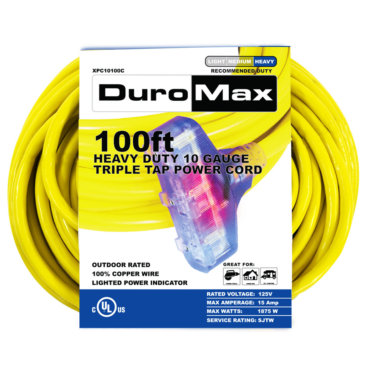 DuroMax XPC10100C 100-Foot 10 Gauge Triple Tap Extension Power Cord