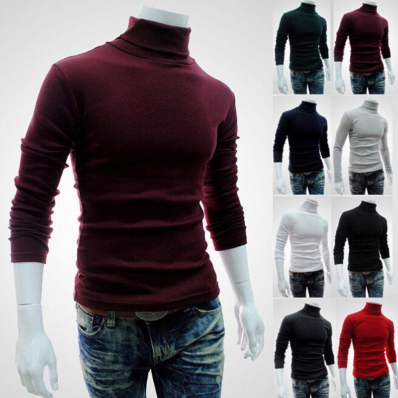 Men's Winter Warm Cotton High Neck Pullover Jumper Sweater Tops Turtleneck