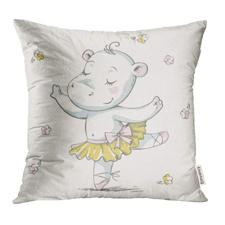 ARHOME Animal Cute Baby Hippo Ballerina Dancing Cartoon Celebration Greeting and Girl Tutu Pillowcase Cushion Cover 20x20 inch](Fantasia Hippo Ballerina)