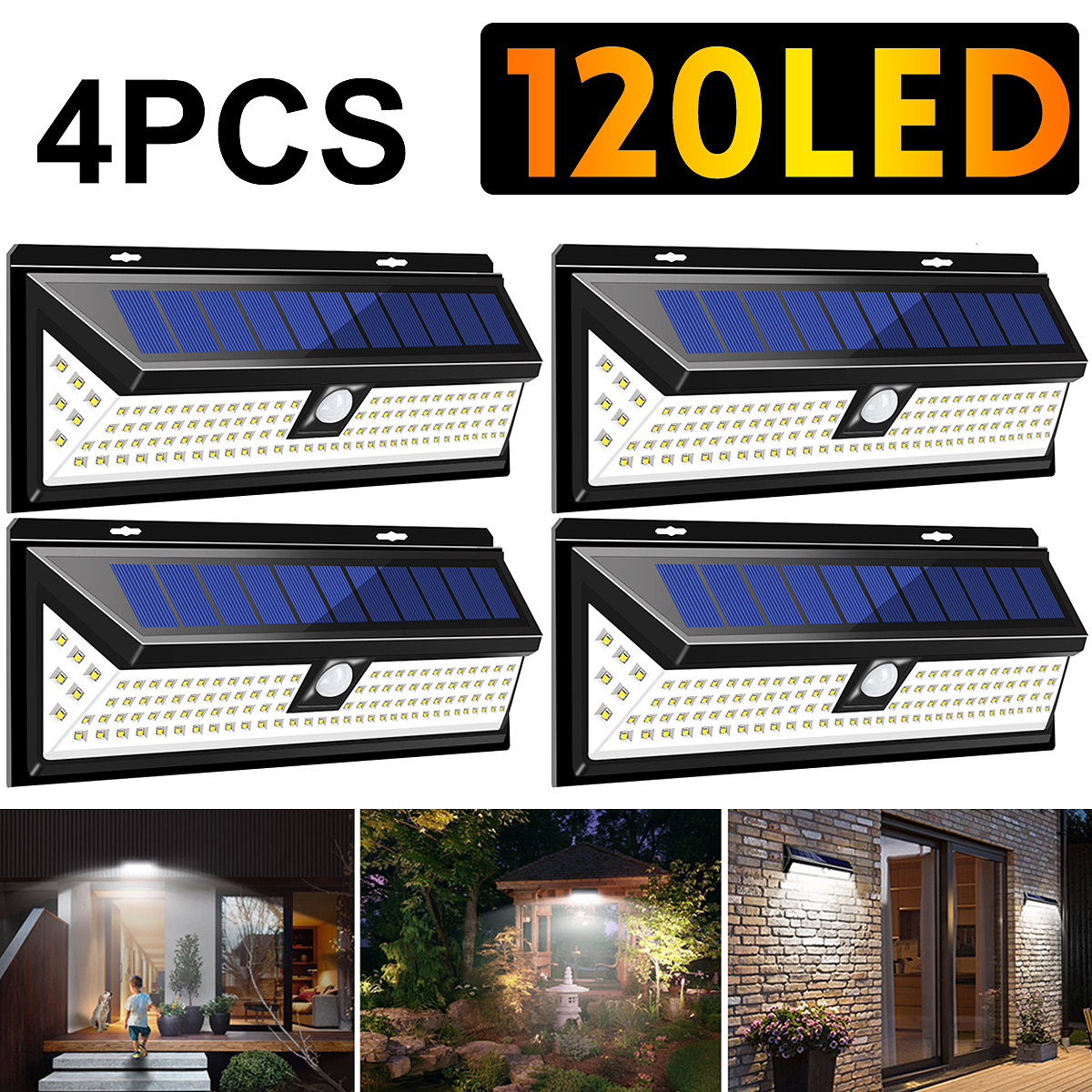 4Pcs Waterproof Sensor Wall Light 1200LM 120 LED 3 Modes Solar Power PIR Motion Sensor Wall Light Outdoor Safety Lamp