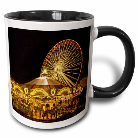 3dRose Viewing the Navy Pier in Chicago, Illinois - US14 JRE0001 - Joe Restuccia III, Two Tone Black Mug, 11oz