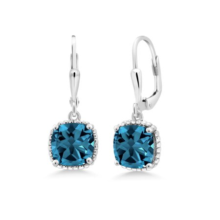 5.48 Ct Cushion London Blue Topaz 925 Sterling Silver Dangling Earrings (Blue Topaz Dangling Earrings)