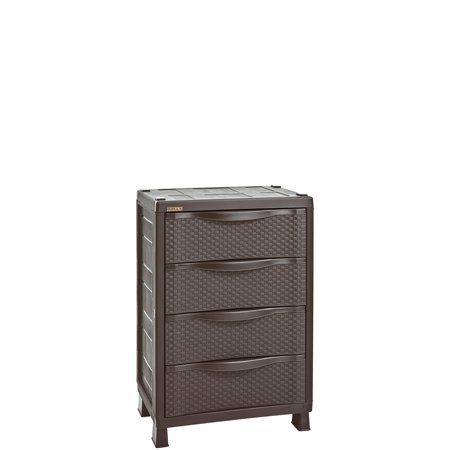 Rimax Traditional Brown 4-Drawer Resin Rattan Cabinet ...