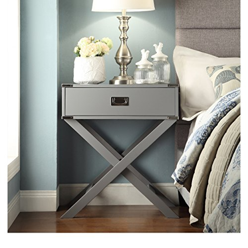 ModHaus Living Modern Wood Accent X Base Nightstand Campaign Sofa Table Rectangle Shaped with Storage Drawer - Includes Pen (Gray)