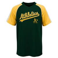 "MLB Oakland A""S TEE Short Sleeve Boys Fashion Jersey Tee 100% Polyester Pin Dot Mesh Jersey Team Tee 4-18"