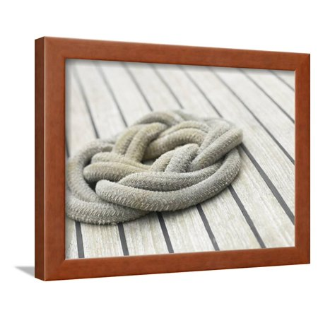 Knot of Rope on Wooden Boat Deck Framed Print Wall Art - Walmart.com
