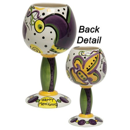 Thompson And Elm Dana Wittmann Mardi Gras And Fleur De Lis Mardi Gras Handpainted Ceramic Goblet  Set Of 4