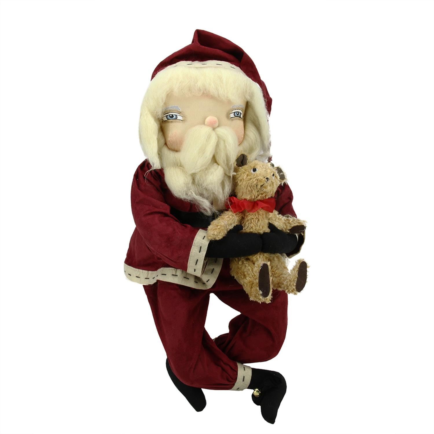 "23"" Gathered Traditions ""Freddy"" Santa Decorative Christmas Figure with Dangling Legs"