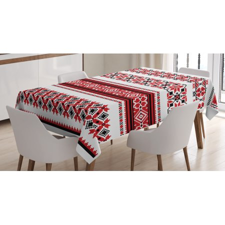 Red Tablecloth, Ukrainian Needlework Illustration Ethnic Traditional Accents Arts and Crafts Theme, Rectangular Table Cover for Dining Room Kitchen, 60 X 90 Inches, Red Black White, by Ambesonne - Kitchen Themes
