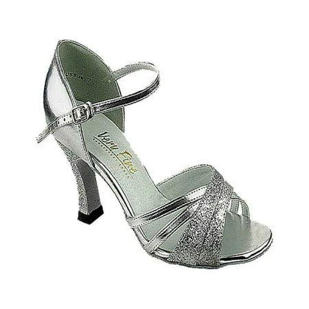 Very Fine Ballroom Dance Shoes Ladies 6030 Silver 3-inch Heel, 8 US ()