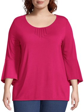c6c2a58d Product Image Women's Plus Size Bell Sleeve Pin-tuck Top