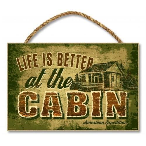 Ideaman S710-002 7 x 10. 5 inch Wooden Sign, Life Is Better At The Cabin
