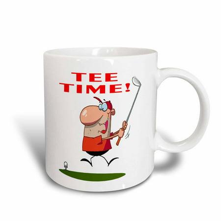 3dRose Tee Time Funny Golfer Soprts Golf Cartoon Design, Ceramic Mug, 11-ounce