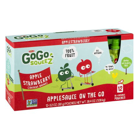 (2 Pack) GoGo Squeez Applesauce On The Go Pouches Apple Strawberry - 12 CT