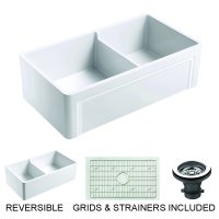 """Olde London Farmhouse Fireclay 33"""" Double Bowl Kitchen Sink with Grid and Strainer in White"""