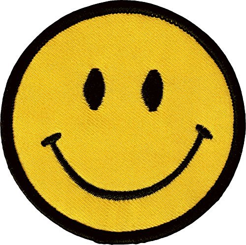 "Smiley Happy / Smile Face 2.75"" Logo Badge Iron on Patches"