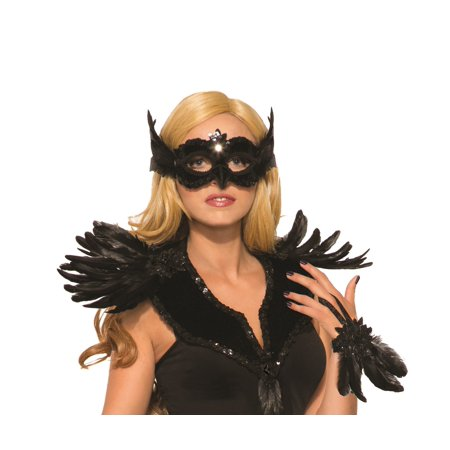 Raven Mask Black Frontal Ribbon Tie Mardi Gras Halloween Costume Accessory