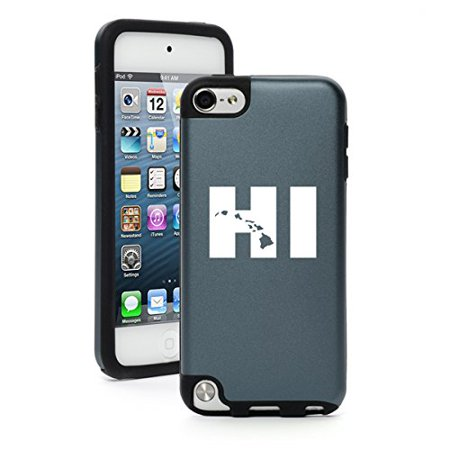 Apple iPod Touch 5th / 6th Generation Aluminum & Silicone Hard Case Cover HI Hawaiian Islands Hawaii - Silver Touch 100% Silicone