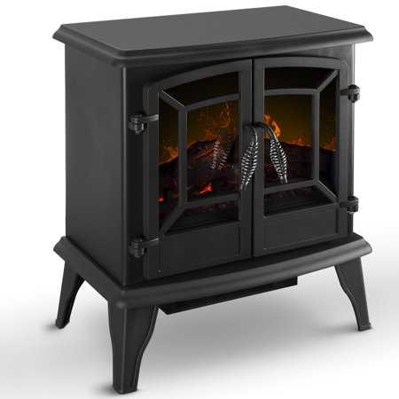 DELLA Electric Stove Heater Fireplace with Realistic Log Wood Burning Flame Effect 1400W - (Electric Fires That Look Like Wood Burning Stoves)