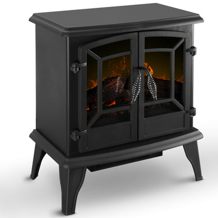 DELLA Electric Stove Heater Fireplace with Realistic Log Wood Burning Flame Effect 1400W - Black ()